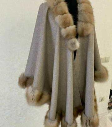 Женское пончо с куницей