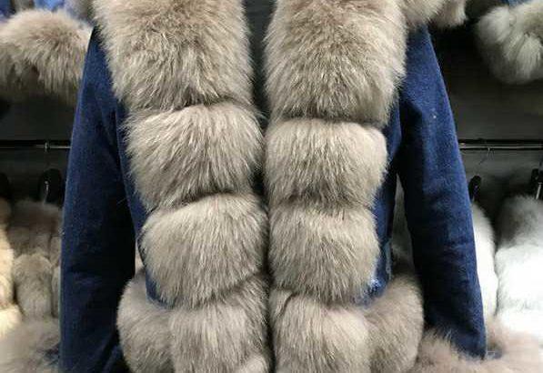 Женские джинсовые парки с натуральным мехом